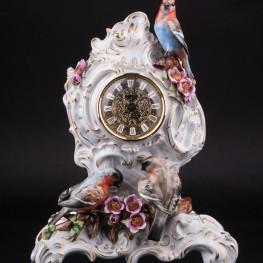 Фарфоровые часы Три птицы, Unterweissbach, Германия, 1990 гг